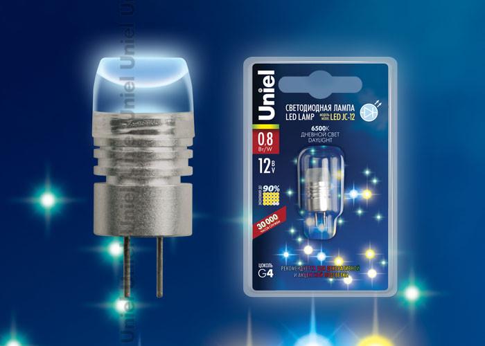 Лампа светодиодная G4 12V 0,8Вт Uniel желтая