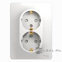 Розетка 2-м GLOSSA с/з з/ш бел