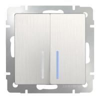 WERKEL Выключатель 2-кл. проходной с подсветкой (перламутр рифленый) WL13-SW-2G-2W-LED