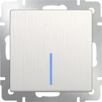 WERKEL Выключатель 1-кл. проходной с подсветкой (перламутр рифленый) WL13-SW-1G-2W-LED