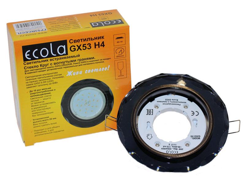 Светильник Ecola GX53 H4 стекло круг с вогнутыми гранями черный хром черный