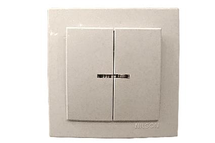 Nilson Touran белый выкл. 2-кл. с подсв. 10А