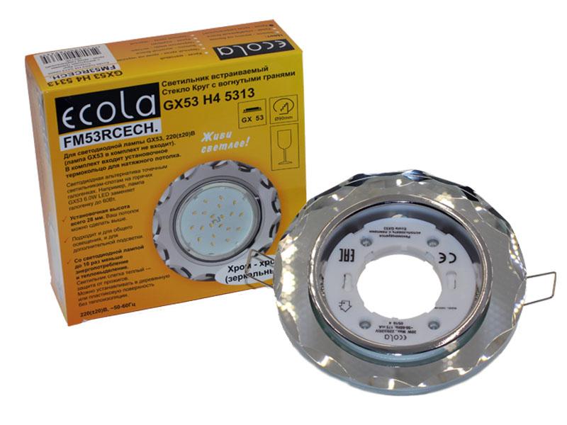 Светильник Ecola GX53 H4 стекло круг с вогнутыми гранями хром зеркало