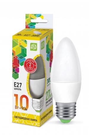 Лампа светодиодная ASD E27  10Вт свеча standard 3000К 900Лм