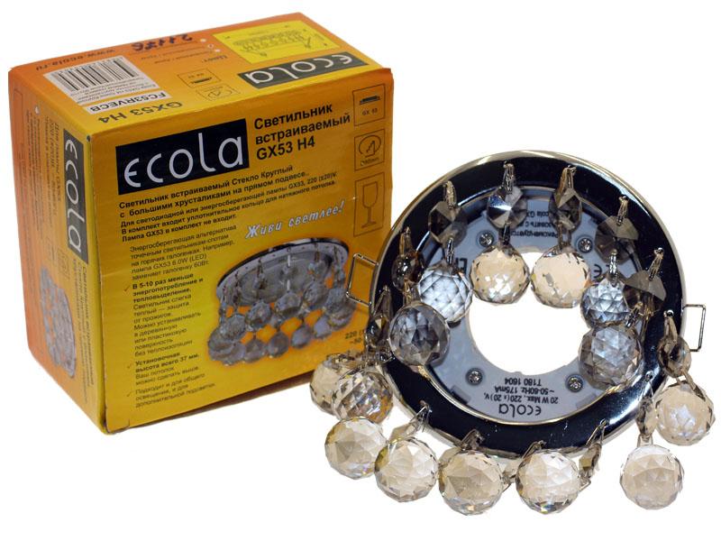 Светильник Ecola GX53 H4 Glass прямой подвес тонированный хром