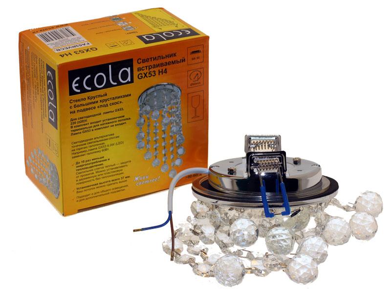 Светильник Ecola GX53 H4 Glass косой подвес прозрачный хром