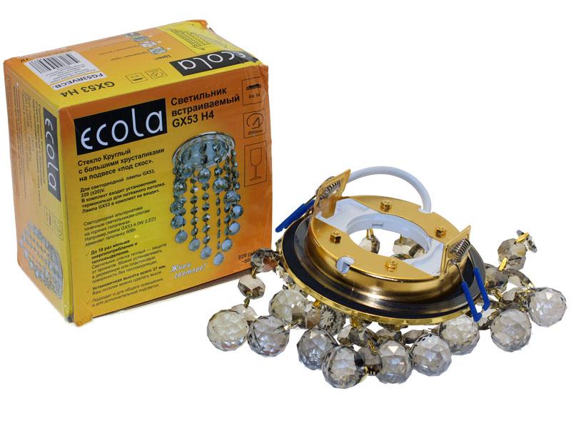 Светильник Ecola GX53 H4 Glass косой подвес тонированное золото
