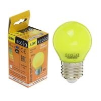 Лампа светодиодная E27  4Вт Ecola шар G45 желтый матов. 77х45