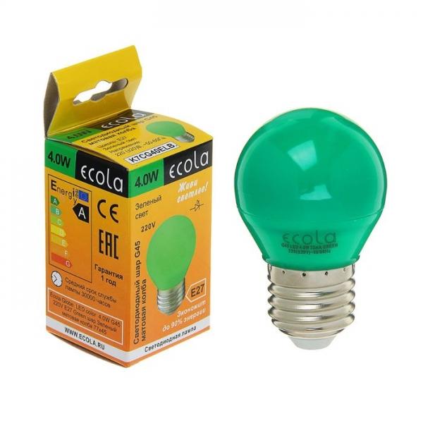Лампа светодиодная E27  4Вт Ecola шар G45 зеленый матов. 77х45
