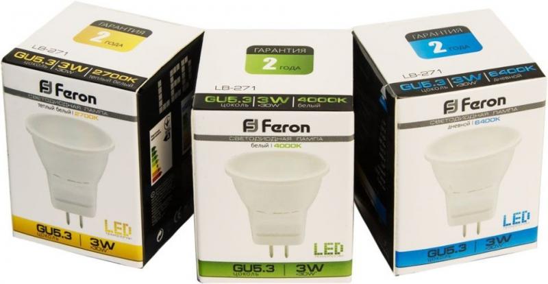 Лампа светодиодная MR11 220V 3Вт Feron 6000K