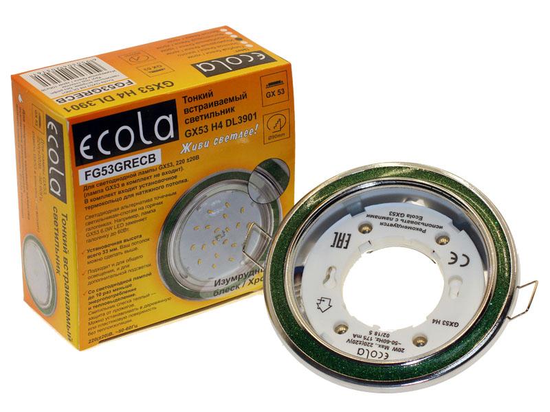 Светильник Ecola GX53 H4 DL3901 изумрудный блеск хром