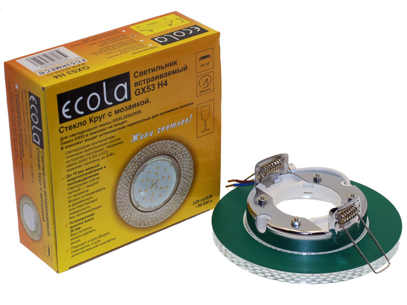 Светильник Ecola 5319 GX53 H4 круг с прозрачной мозаикой зеркало хром