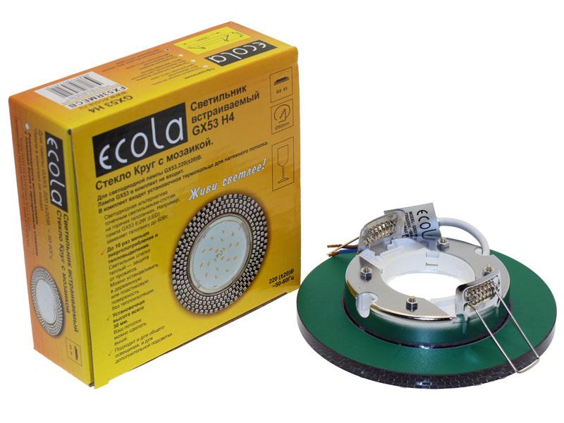 Светильник Ecola GX53 H4 круг с прозрачной мозаикой черный хром
