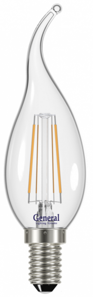 Лампа светодиодная General E14 7Вт 4500К свеча на ветру 605Лм филам.прозрачная
