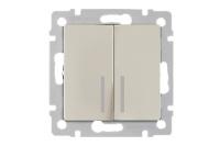 WERKEL Выключатель 2-кл. проходной с подсветкой (слоновая кость) WL03-SW-2G-2W-LED-ivory