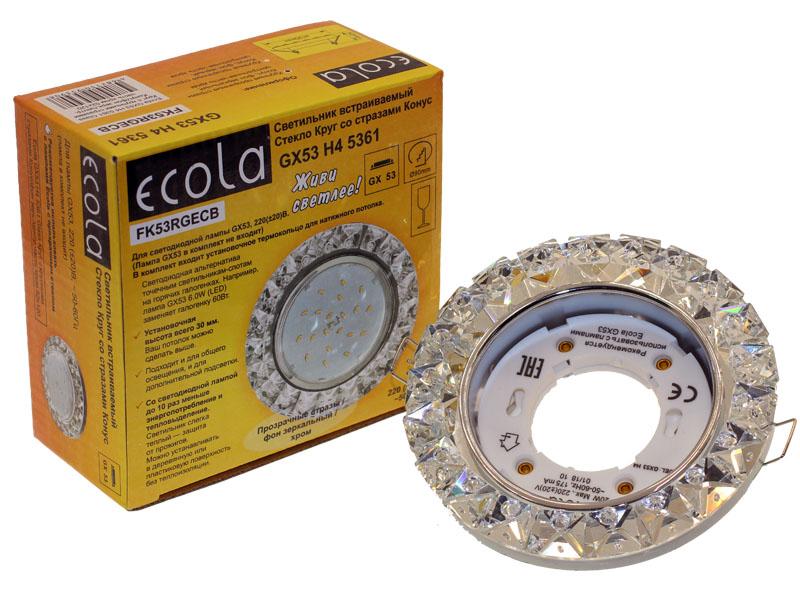 Светильник Ecola GX53 H4 Glass крупные стразы конус зеркальный хром
