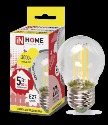 Лампа светодиодная IN HOME E27  5Вт шар deco прозрачн. 4000К 450Лм