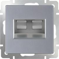 WERKEL Розетка 2-я Enternet RJ45 (серебро)