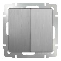WERKEL Выключатель 2-кл. проходной (серебро рифленый) WL09-SW-2G-2W
