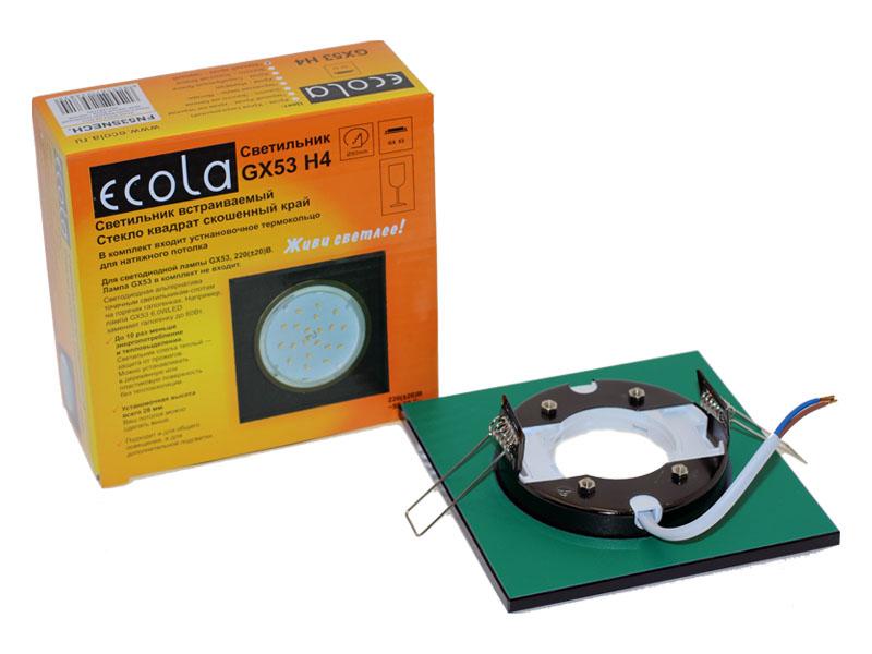 Светильник Ecola GX53 H4 стекло квадрат скошенный край черный хром черный