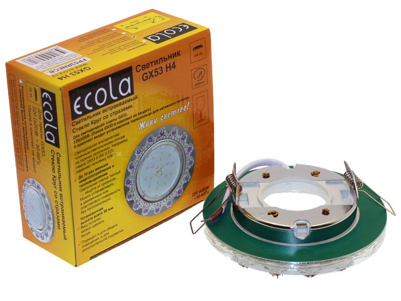 Светильникк Ecola GX53 H4 круг с прозрачными и аметистовыми стразами корона зеркало хром