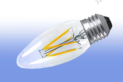 Лампа светодиодная IN HOME E27  5Вт свеча прозрачн. 4000К 450Лм