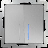 WERKEL Выключатель 2-кл. с подсветкой (серебро)