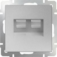 WERKEL Розетка Enternet RJ45+телефон RJ11 (серебро)