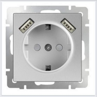 WERKEL Розетка с/з, шторками и USB 2x (серебро)