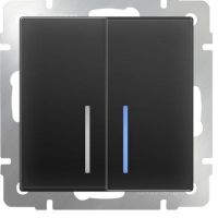 WERKEL Выключатель 2-кл. проходной с подсветкой (черный) WL08-SW-2G-2W-LED