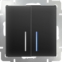 WERKEL Выключатель 2-кл. с подсветкой (черный) WL08-SW-2G-LED