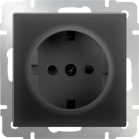WERKEL Розетка с/з и шторками (черный) WL08-SKGS-01-IP44