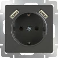 WERKEL Розетка с/з, шторками и USB 2x (черный)