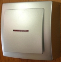 Nilson Themis серебро выкл. 1кл. с подсв. 10А