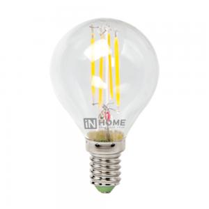 Лампа светодиодная IN HOME E14  7Вт шар deco прозрачн. 4000К 630Лм