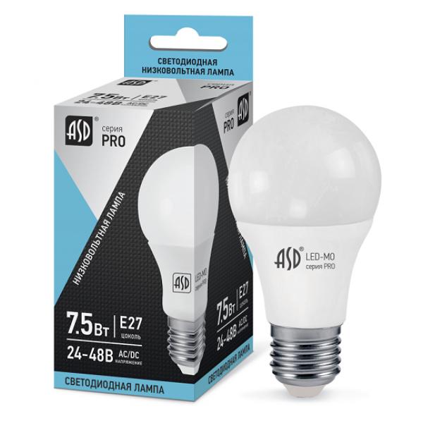 Лампа светодиодная низковольтная ASD E27  7.5Вт 12-24V 4000К 600Лм