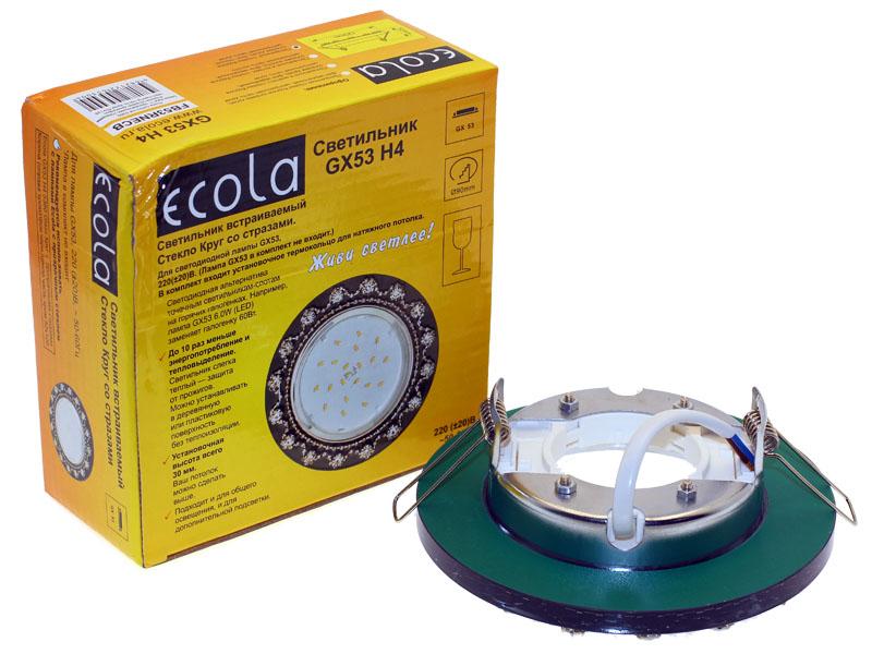 Светильник Ecola GX53 H4 Glass 5360 круг c прозрачными стразами корона черный хром