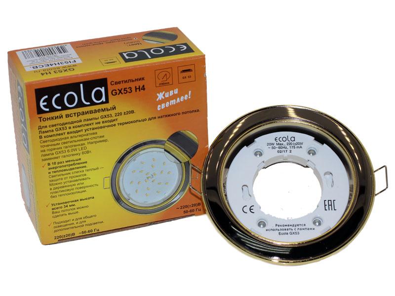 Светильник Ecola GX53 Н4 золото черный хром золото