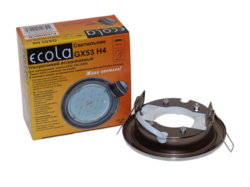 Светильник Ecola GX53 H4 хром черный хром хром