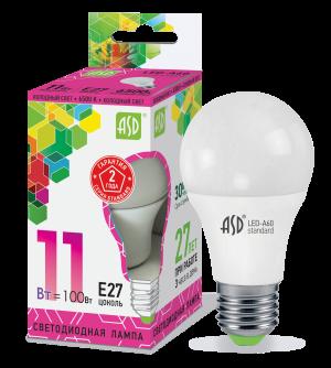 Лампа светодиодная ASD E27 11Вт шар A60 6500К 990Лм