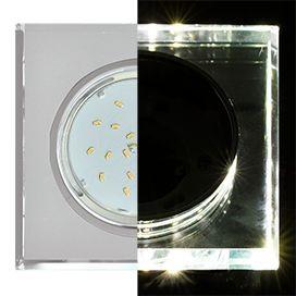 Светильник Ecola GX53 LD5311 стекло квадрат скошенный край с подсветкой хром зеркальный