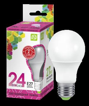 Лампа светодиодная ASD E27 24Вт шар A60 6500К 1600Лм