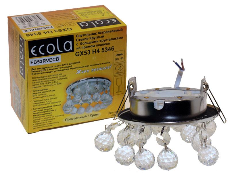 Светильник Ecola GX53 H4 Glass прямой подвес прозрачный хром