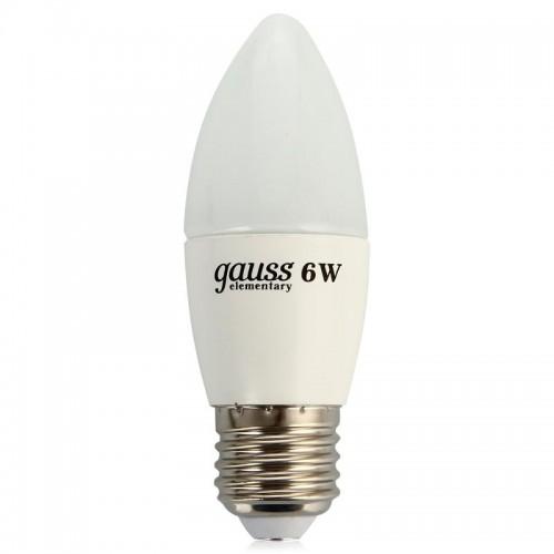 Лампа светодиодная Gauss E27  6Вт Candle Elementary 2700К 420Лм