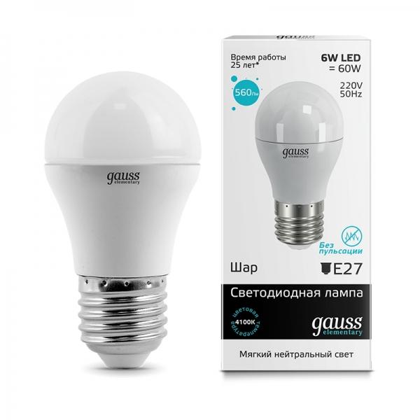 Лампа светодиодная Gauss E27  6Вт Globe Elementary 4100К 450Лм