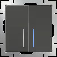WERKEL Выключатель 2-кл. проходной с подсветкой (серо-коричневый)