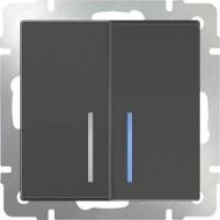 WERKEL Выключатель 2-кл. с подсветкой (серо-коричневый)