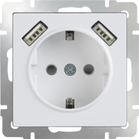 WERKEL Розетка с/з, шторками и USB 2x (белая)