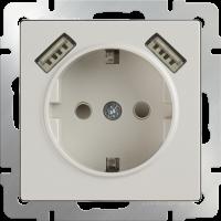 WERKEL Розетка с/з, шторками и USB 2x (слоновая кость) WL03-SKGS-USBx2-IP20