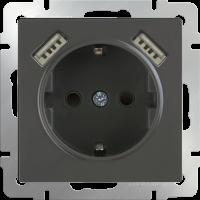WERKEL Розетка с/з, шторками и USB 2x (серо-коричневый)